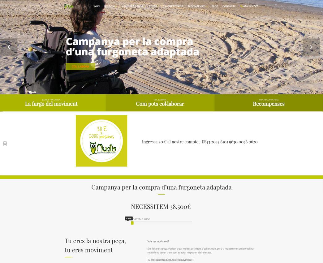 Diseño de página web para acción de crowdfunding,