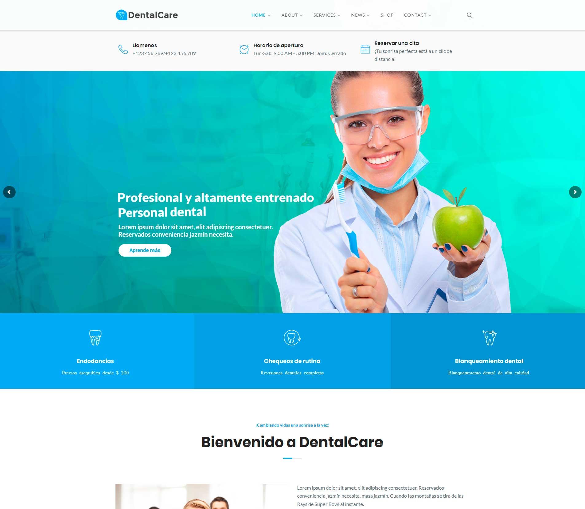 Páginas Web para clínicas dentales y dentistas, 1D